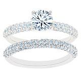 Triple Row Pave Diamond Bridal Set