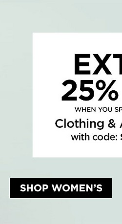Extra 25% Off When You Spend $50+ On Clothing and Accessories with code SPRINGON. Ends 4/29/17. Exclusions Apply. Plus, Earn $20 in Points on $40+