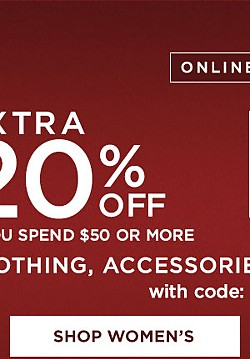 Extra 20% off $50 or more OR 15% off up to $49.99 on Clothing, Accessories, Sleepwear, and Lingerie with code PRESENTS. Ends 12/10/16. Exclusions Apply. See Details.