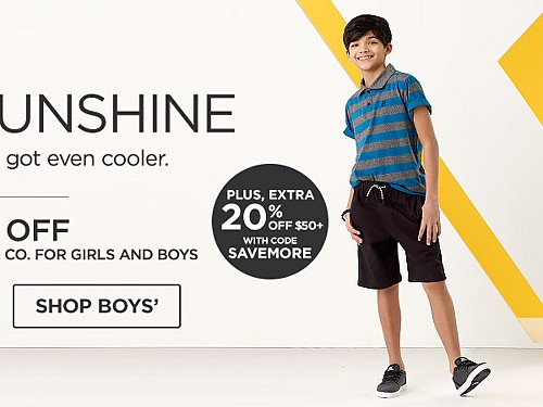 50% off Amplify and Roebuck and Co. for Girls and Boys. Plus! 20% off $50+ with code SAVEMORE