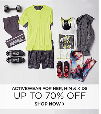 Up to 70% off Activewear for Her, Him, and Kids