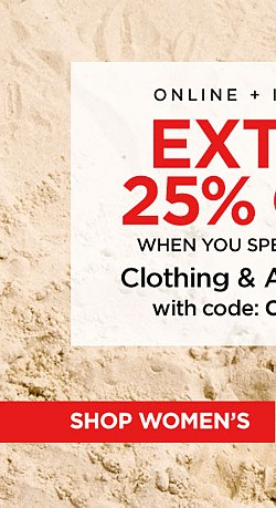 Online + In Store! Extra 25% Off $40+ Clothing and Accessories with code COOLSALE. Ends 6/24/17. Exclusions Apply.