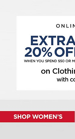Extra 20% Off $50+ or 15% Off Up To $49.99 On Clothing and Accessories with code SPARKLER. Ends 7/1/17. Exclusions Apply. Shop Women's