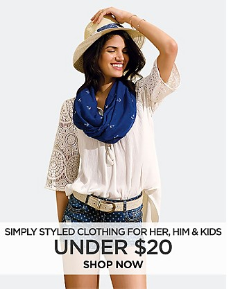 Simply Styled Clothing for Her, Him, and Kids under $20. Shop Now.
