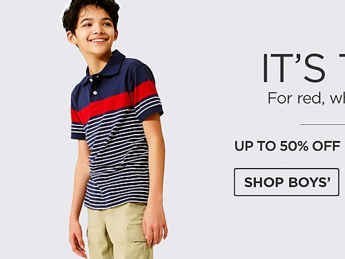 Up To 50% Off Kids' Fashions. Shop Boys'.