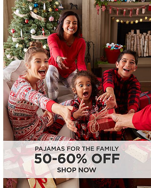 50-60% off pajamas for the family. Shop now