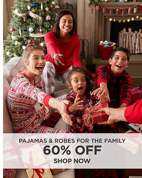 60% off Pajamas & Robes for the family. Shop now