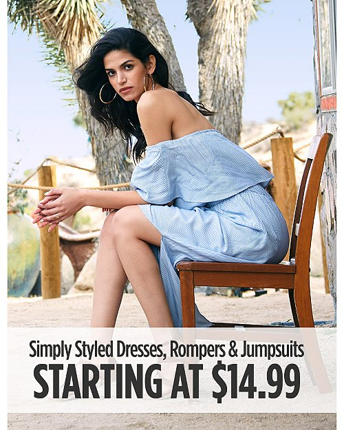 Simply Styled Dresses, Rompers, & Jumpsuits Starting at $14.99