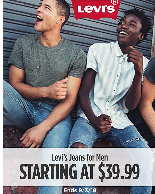 Levi's Jeans for Men Starting at $39.99. Ends 9/3/18