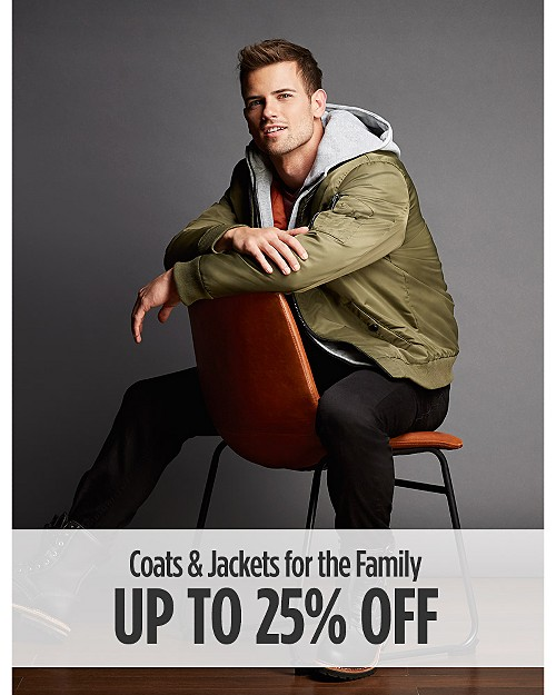 Up to 25% Off Coats & Jackets for the Family
