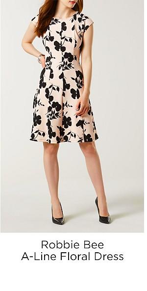 Robbie Bee Women's A-Line Dress-Floral