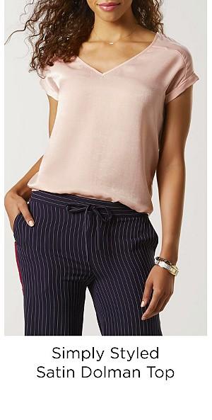 Simply Styled Women's Satin Dolman Top