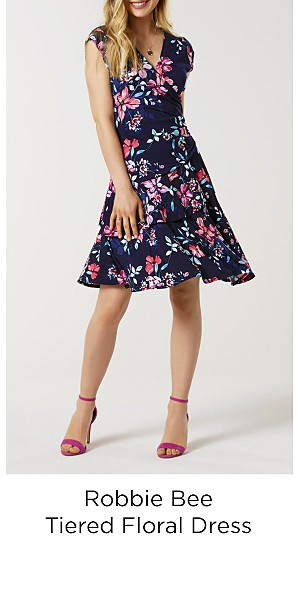 Robbie Bee Women's Tiered Dress - Floral