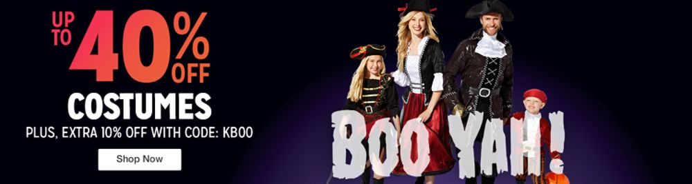 Up to 40% off Costumes + EXTRA 10% off w/ Code: KBOO