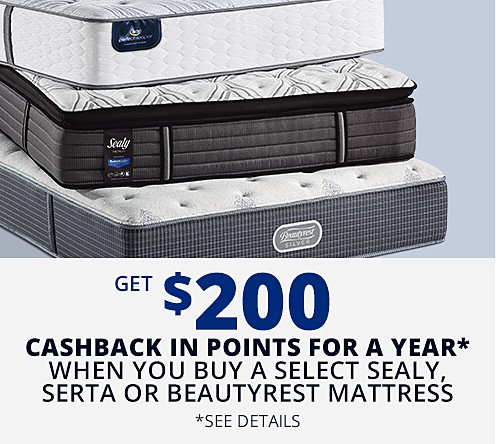 Get $200 CASHBACK in points on select Sealy Response, Serta Perfect Sleeper and Beautyrest Silver mattresses FOR A YEAR* See Details