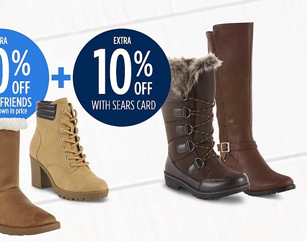 Up to 40% off women's boots + extra 20% off for family & friends + extra 10% off with sears card