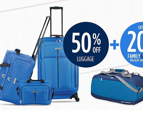 50% off luggage + extra 20% off for family & friends + $25 CASHBACK in points