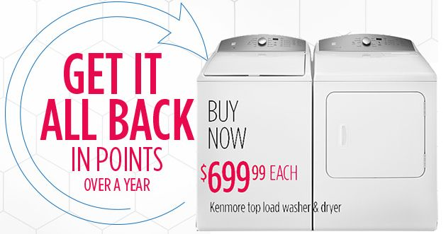 100% CASHBACK in points on featured Kenmore Washer or Dryer