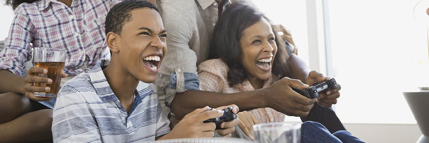Playing video games with friends