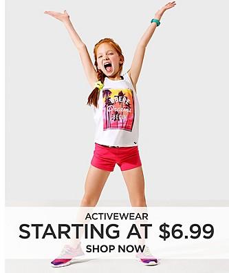 Starting at $6.99 activewear