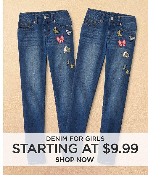 Denim for girls starting at $9.99