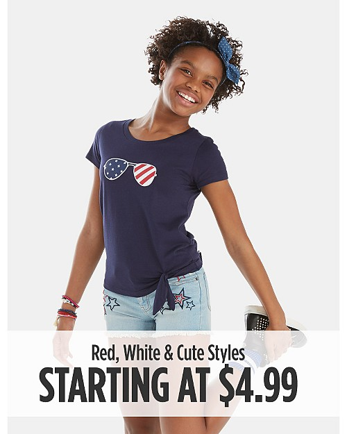 Red, White & Cute Styles starting at $4.99
