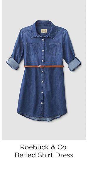 Roebuck & Co. Girls' Belted Shirt Dress