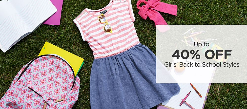 Up to 40% off Girls' Back to School Styled