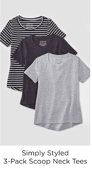 Simply Styled Girls' 3-Pack Scoop Neck T-Shirts - Stripes & Dots
