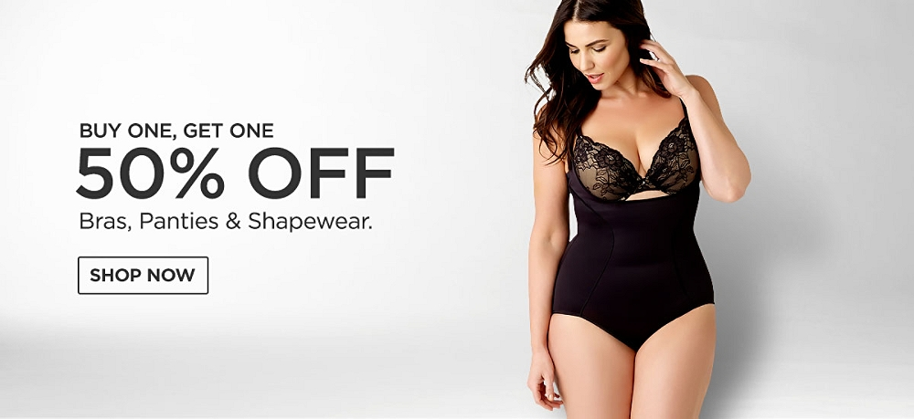 Buy One Get One at 50% off Bras, Panties & Shapewear. Shop Now