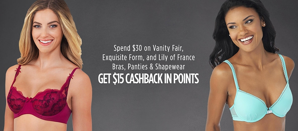 Spend $30 on Vanity Fair,�Exquisite Form, and Lily of France�Bras, Panties & Shapewear, Get $15 Cashback in Points