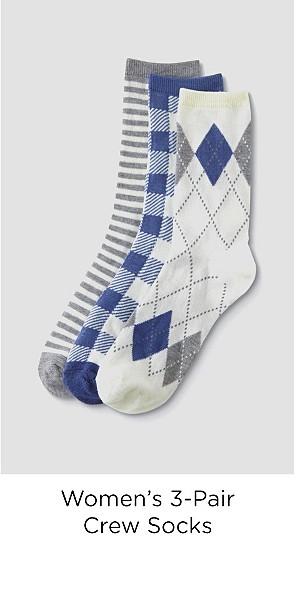 Women's 3-Pairs Crew Socks - Argyle, Checkered & Striped