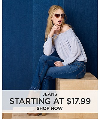 Jeans starting at $17.99