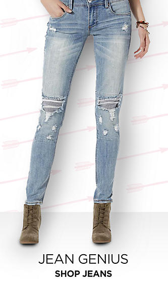 Shop Jeans for Juniors&#x3b; destructed skinny boot cut ripped