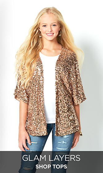 Shop Tops for Juniors, Sequin Lace Fringe Cardigan Blouse Button Down Plaid