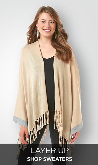 Shop Sweaters Cardigans Poncho Wrap Henley Turtle Neck Knit Fringe Duster