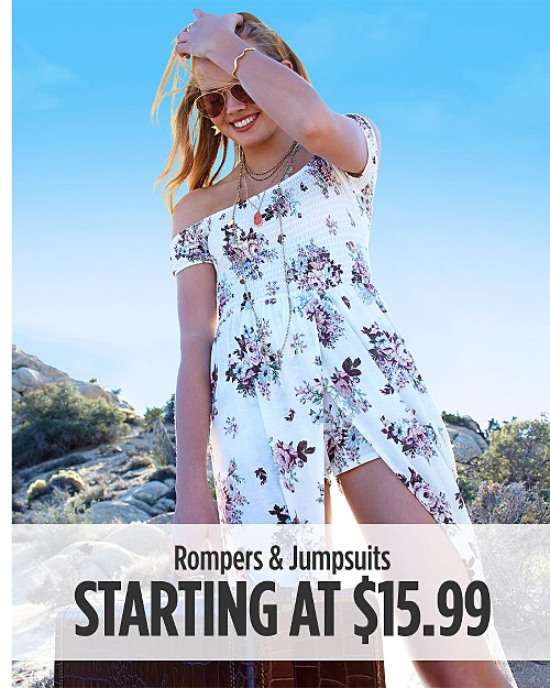Rompers & Jumpsuits Starting at $15.99