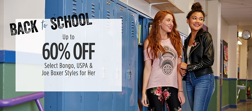 Back to School: Up to 60% Off Select Bongo, USPA, & Joe Boxer Styles for Her