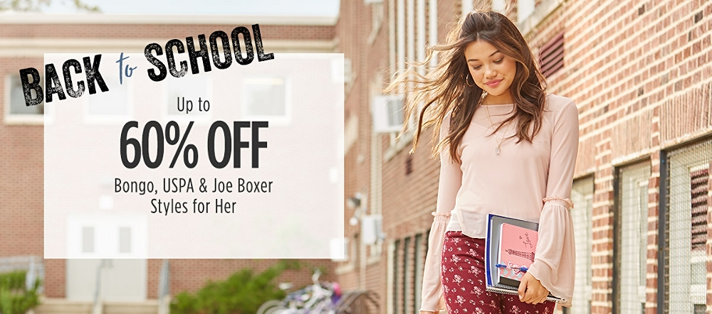 Back to School: Up to 60% Off Bongo, USPA, & Joe Boxer Styles for Her