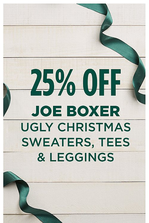 25% Off Joe Boxer Ugly Christmas Tees, Leggings, & Sweaters