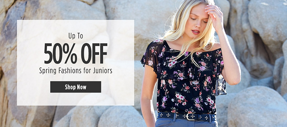 Up to 50% Off Spring Fashions for Juniors. Shop now