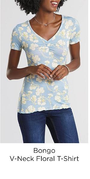 Bongo Juniors V-Neck T-Shirt - Floral