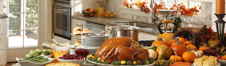 Beautiful Thanksgiving kitchen spread
