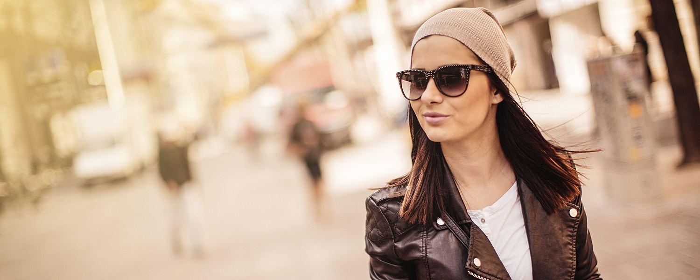 Woman Walking in Leather Jacket