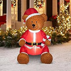 Inflatable holiday bear in yard