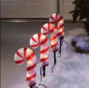 Candy cane outdoor path lights