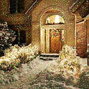 Holiday projector light illuminating home