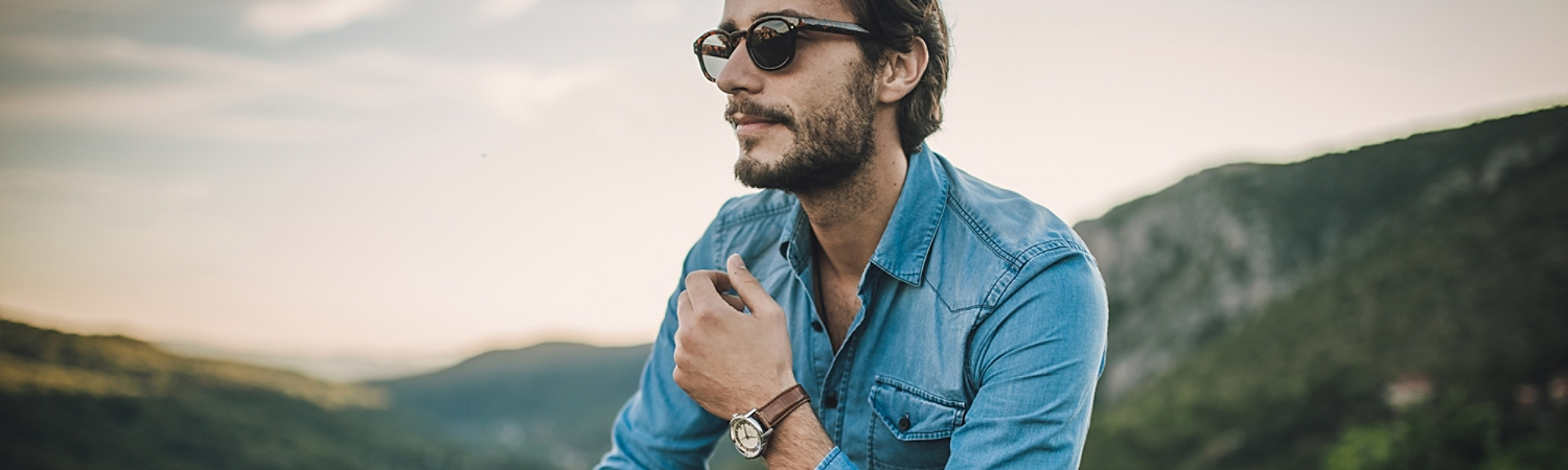 Stylish man in denim outfit