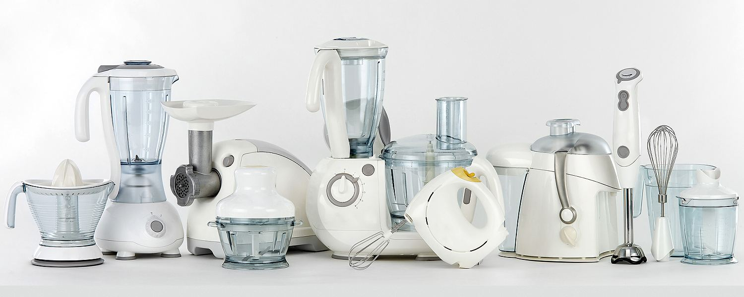 Various small kitchen appliances arranged in a row