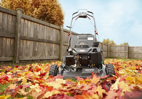 Mowing and mulching fall leaves